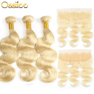 Brazilian #613 Body Wave 3 Bundles With 1 Piece 13x4 Lace Frontal Shiny and soft Color Hair - Ossilee Hair