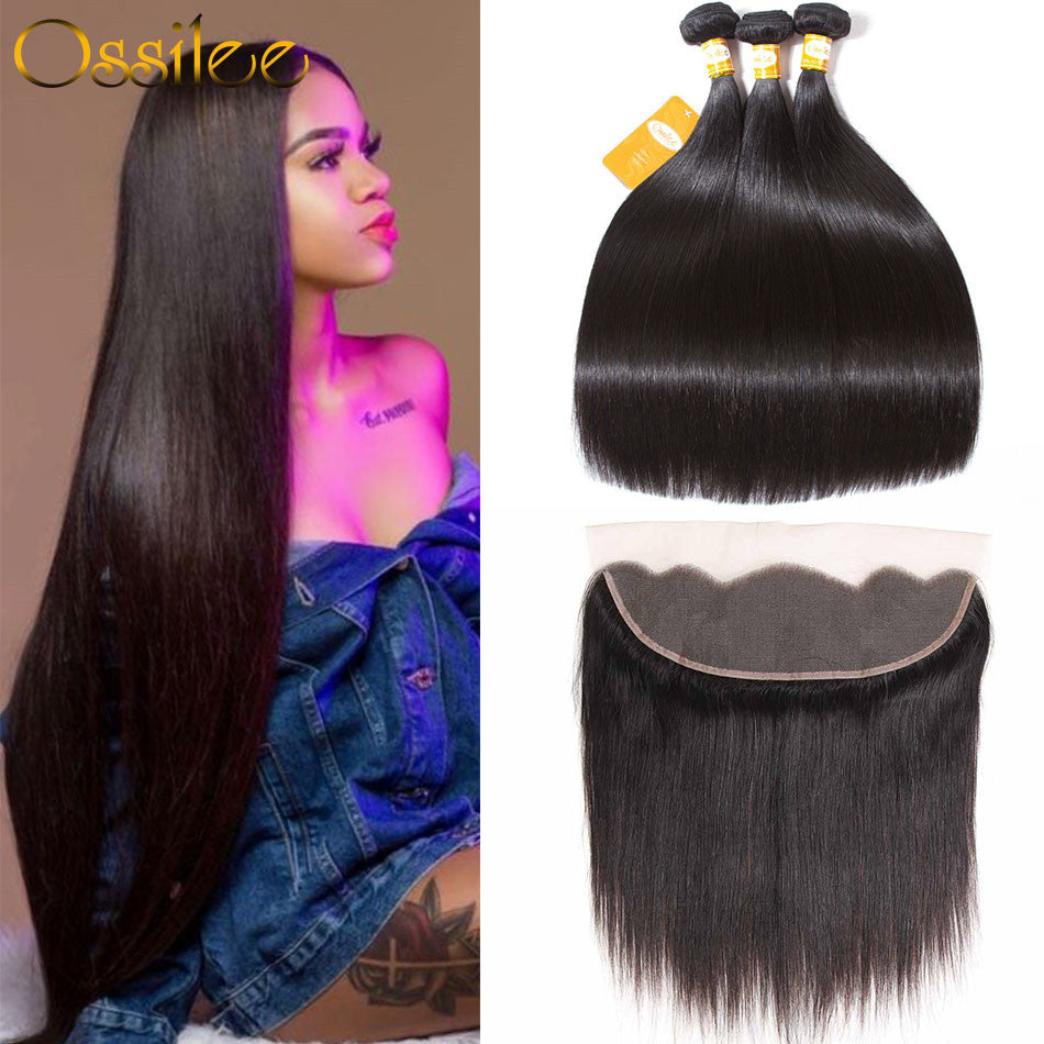 Best Quality 3Bundles With 13x4 Pre-Plucked Lace Frontal 9A Brazilian Straight Virgin Human Hair Weave - Ossilee Hair