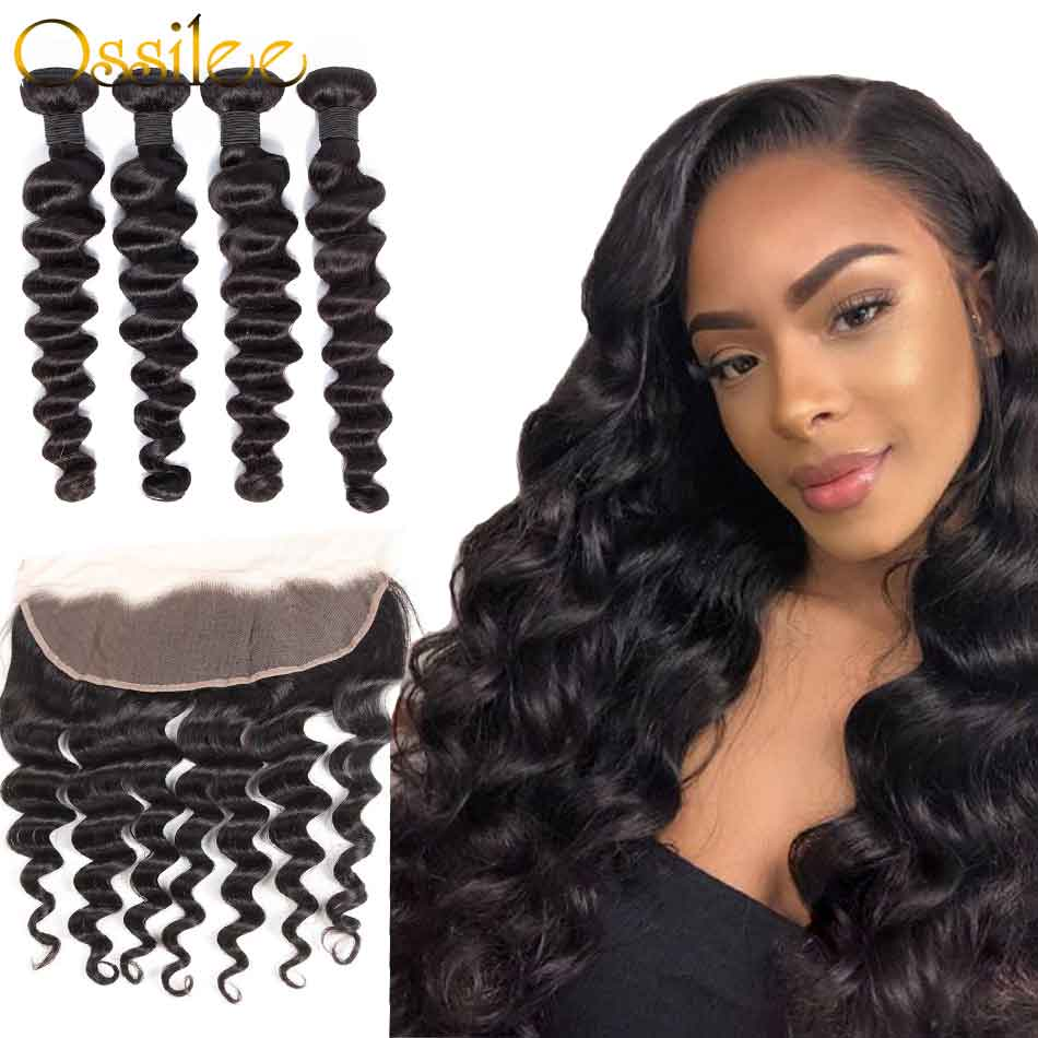 Real 9A Loose Deep Wave Virgin Hair 3Bundles With 13x4 Pre-Plucked Lace Frontal - Ossilee Hair