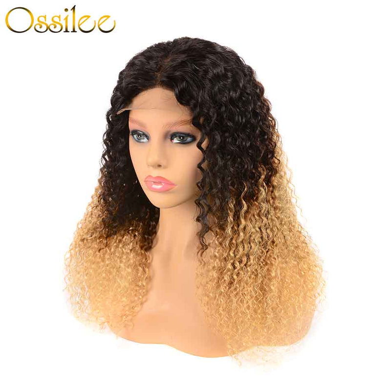 Ombre Color 13x4 Pre-Plucked Lace Front  Wig 150% Density Kinky Curly Wig - Ossilee Hair