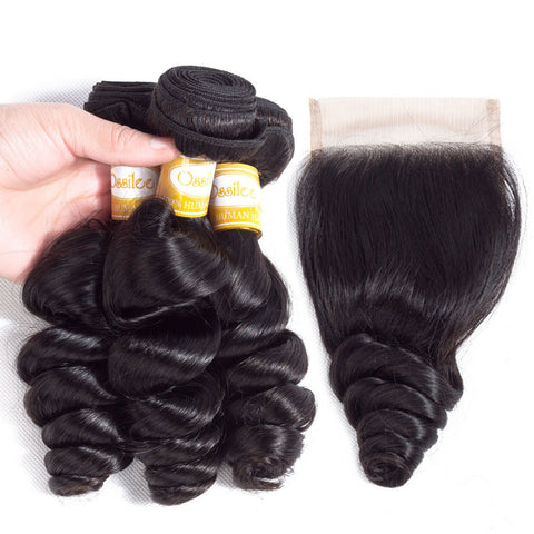9A Grade Unprocessed 3Pcs Loose Wave With Lace Closure Brazilian Virgin Human Hair Bundles - Ossilee Hair