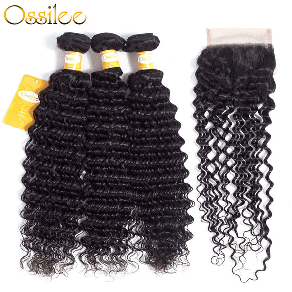 Top Quality Peruvian Deep Wave 4 Bundles With Lace Closure 100% Human Hair - Ossilee Hair