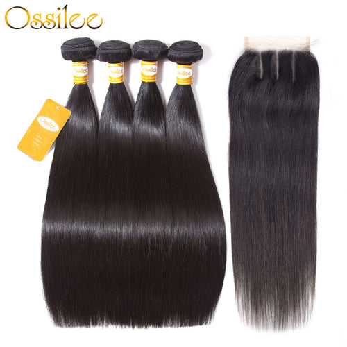 Malaysian Straight Hair With Lace Closure 5Pcs/lot Malaysian Hair Bundles Remy Straight Hair - Ossilee Hair