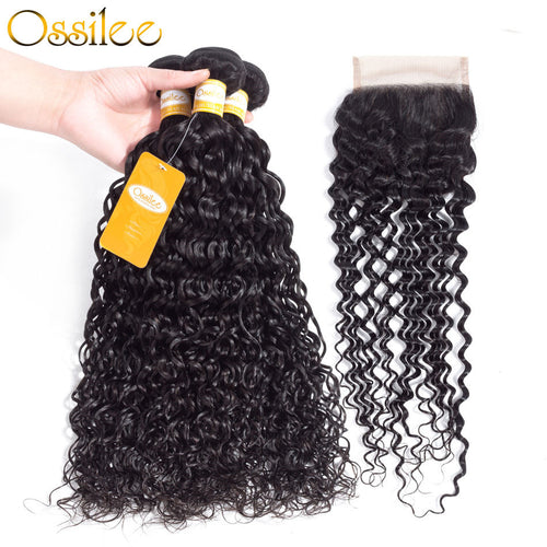 9A Grade 3Pcs Water Wave With 4x4 Lace Closure Soft Indian Virgin Hair Bundles - Ossilee Hair