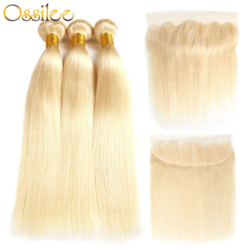 Brazilian Straight #613 3Bundles With 1 Piece 13x4 Lace Frontal Shiny and soft Color Hair - Ossilee Hair