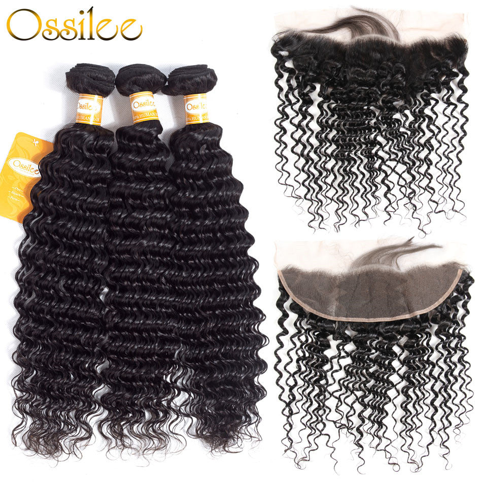 9A Grade Deep Wave 3Bundles With 13x4 Pre-Plucked Lace Frontal Natural Color 100% Brazilian Human Hair - Ossilee Hair
