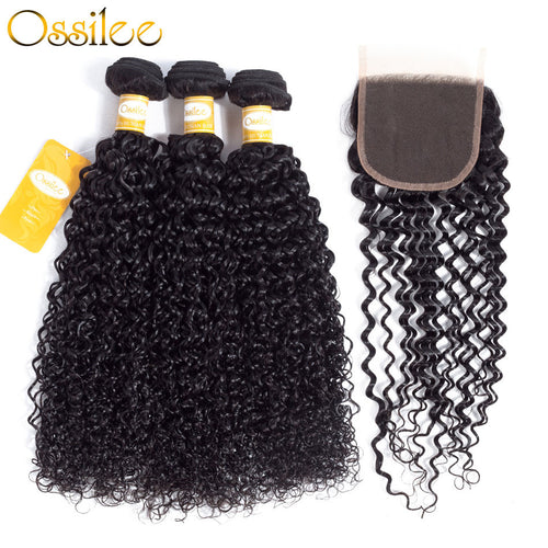 9A Kinky Curly 3Pcs With Lace Closure Unprocessed Brazilian Virgin Hair Bundles - Ossilee Hair