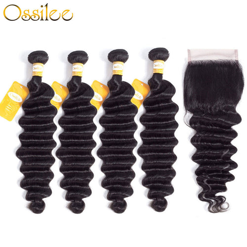 Loose Deep Wave 4 Bundles With 1Pc Closure Peruvian 100% Human Hair Weave Bundles - Ossilee Hair