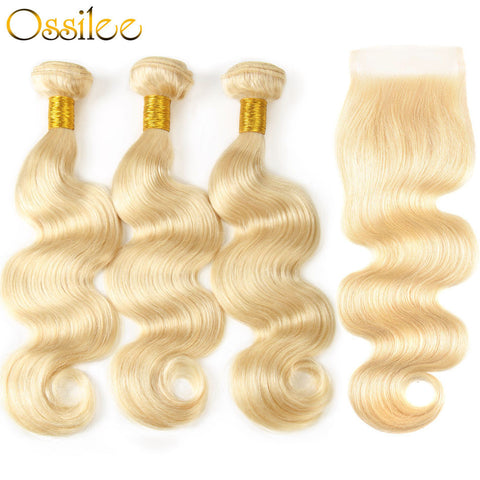 Brazilian Body Wave #613 Blonde 3 Bundles With 1 Piece 4x4 Lace Closure Shiny and soft Color Hair - Ossilee Hair