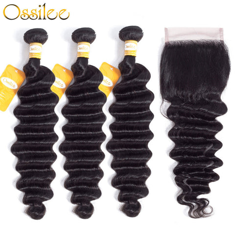 Loose Deep Wave With Lace Closure 9A Unprocessed Brazilian Remy 3 Hair Bundles With 1 Closure - Ossilee Hair