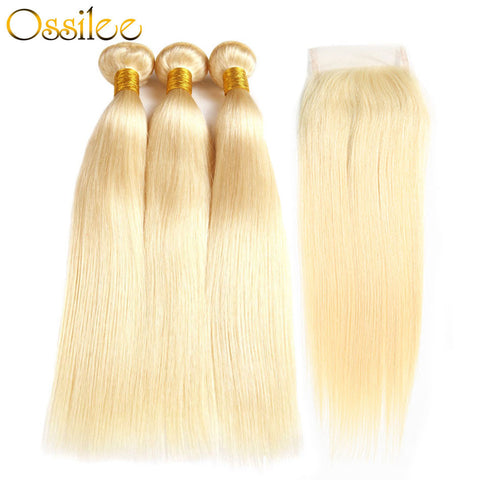 Blonde #613 Brazilian Straight 3 Bundles With 1 Piece 4x4 Lace Closure Shiny and soft Color Hair - Ossilee Hair