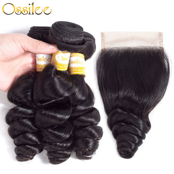 3Pcs With Lace Closure Loose Wave 8A Grade Unprocessed Peruvian Remy Hair Bundles - Ossilee Hair