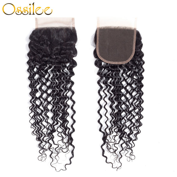 Real 9A Grade 3Pcs Deep Wave With 4x4 Lace Closure Soft Brazilian Virgin Hair Bundles - Ossilee Hair