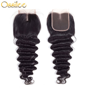 4x4 Loose Deep Wave Human Hair Lace Closure Middle Part,Free Part ,Three Part - Ossilee Hair