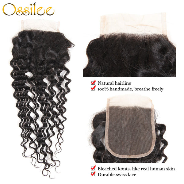 9A Grade Peruvian Water Wave 4 Bundles With 1Pc Closure 100% Human Hair Weave Bundles - Ossilee Hair