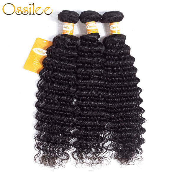 8A One Piece Human Hair Bundles Deal Brazilian deep wave Weave bundles - Ossilee Hair