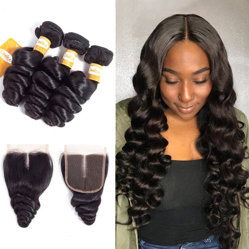 Brazilian 3Pcs With Lace Closure Loose Wave 8A Grade Unprocessed Remy Hair Bundles - Ossilee Hair