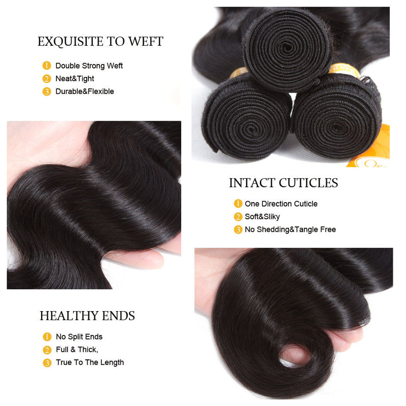 9A Malaysian Body Wave With Lace Closure Virgin Hair Unprocessed Human Hair - Ossilee Hair