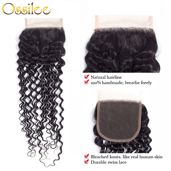 Top Quality 5PCS/Lot Indian Water Wave Virgin Hair With Lace Closure 4 Bundles Virgin Human Hair - Ossilee Hair
