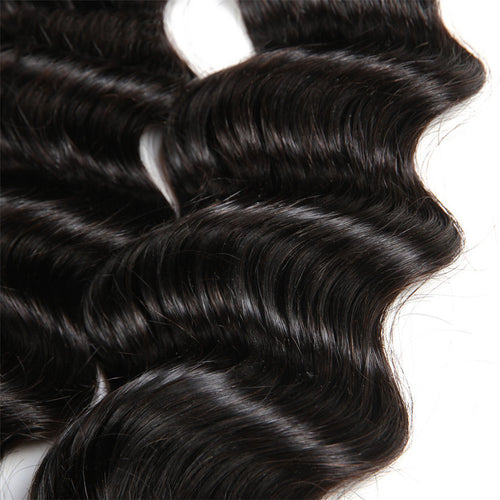 Peruvian Remy Human Hair Bundles 3Pcs Loose Deep Wave With Lace Closure - Ossilee Hair