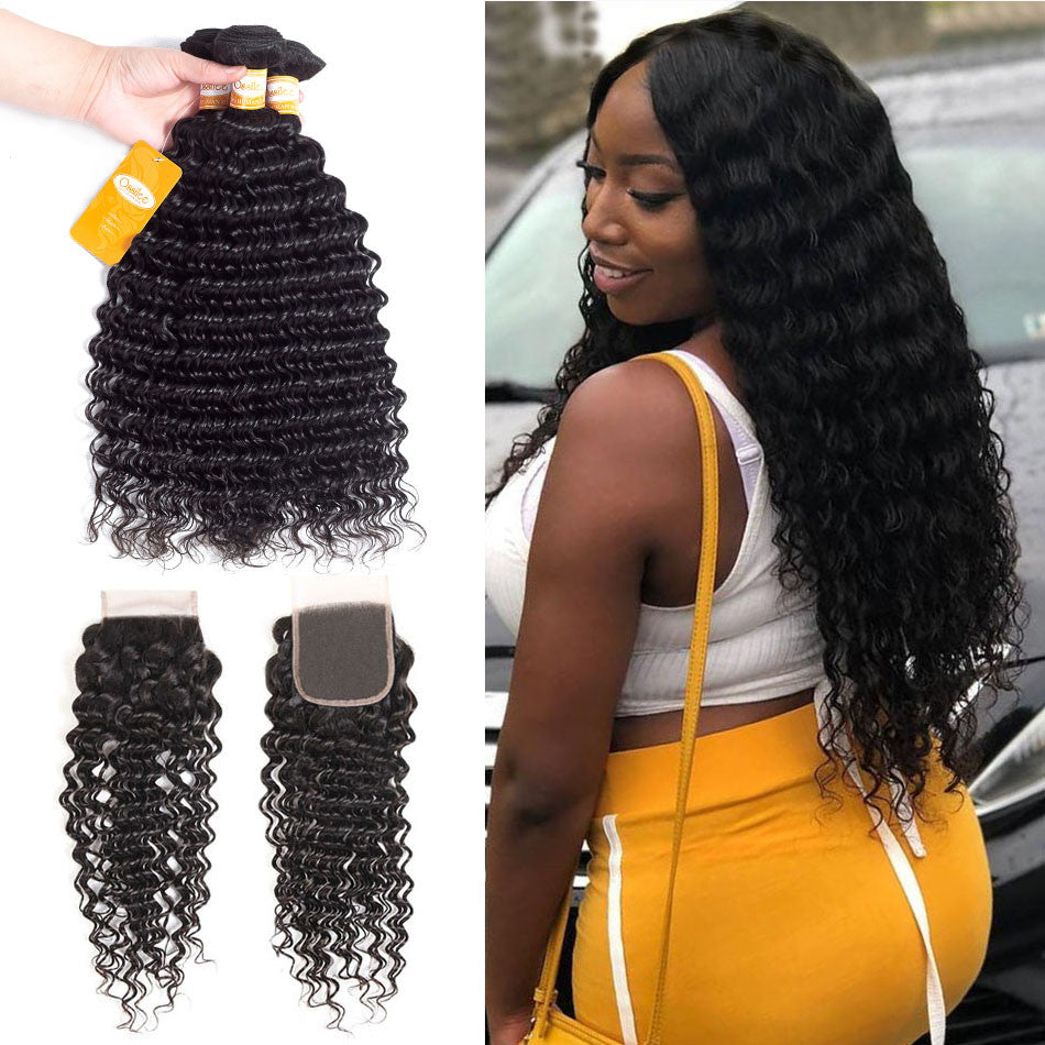 Best Quality 9A Peruvian Virgin Hair 3Bundles With Lace Closure Deep Wave Hair - Ossilee Hair