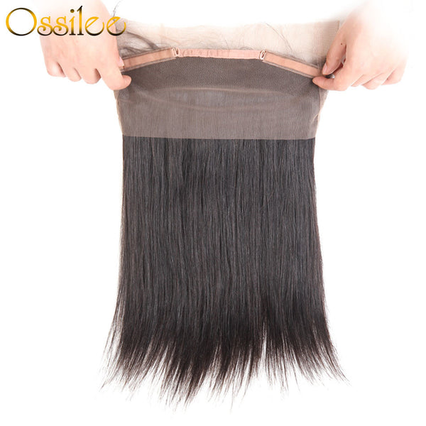 9A Brazilian Straight  With 360 Lace Front 8-30inches 2Bundles With 1 Pc 360 Lace Closure - Ossilee Hair
