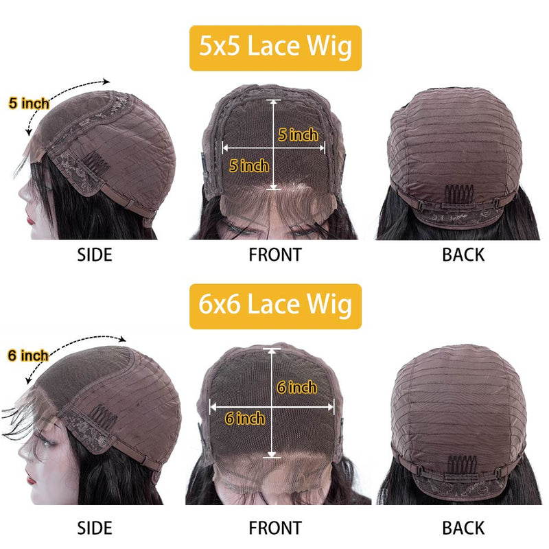 5x5 HD Lace Closure Wig 180% &250% Density Straight Virgin Hair Lace Front Wig 10A Grade - Ossilee Hair