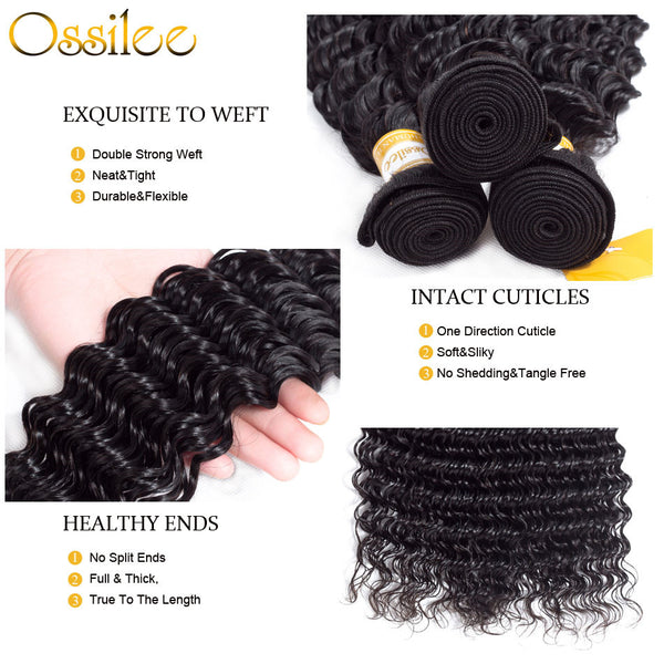 2/3Bundles With 13x4 Pre-Plucked 9A Deep Wave Lace Frontal Natural Color 100% Human Hair Weave - Ossilee Hair