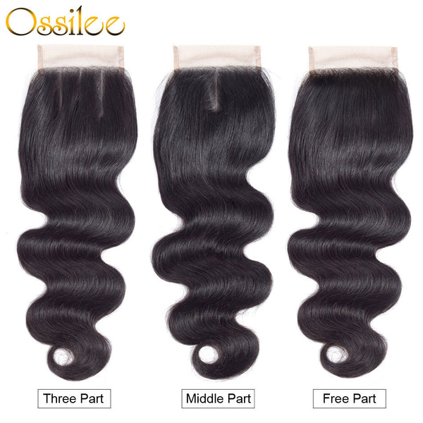 4x4 Body Wave Human Hair Lace Closure Middle Part,Free Part ,Three Part - Ossilee Hair