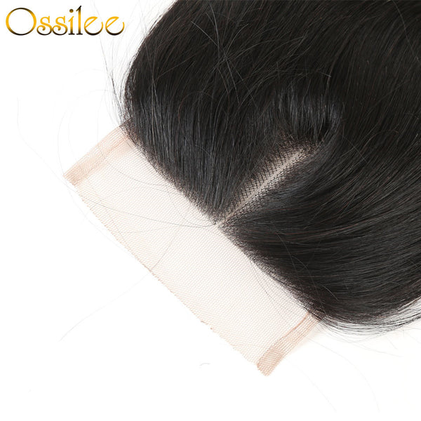 4x4 Straight Human Hair Lace Closure Middle Part,Free Part ,Three Part - Ossilee Hair