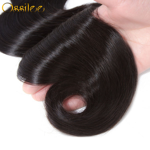 9A Grade 3Pcs Body Wave With Lace Closure Soft & Thick Indian Virgin Hair Bundles Natural Color - Ossilee Hair