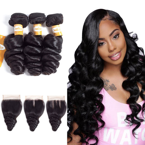 Real 9A Grade Unprocessed 3Pcs Loose Wave With Lace Closure Indian Virgin Hair Bundles - Ossilee Hair