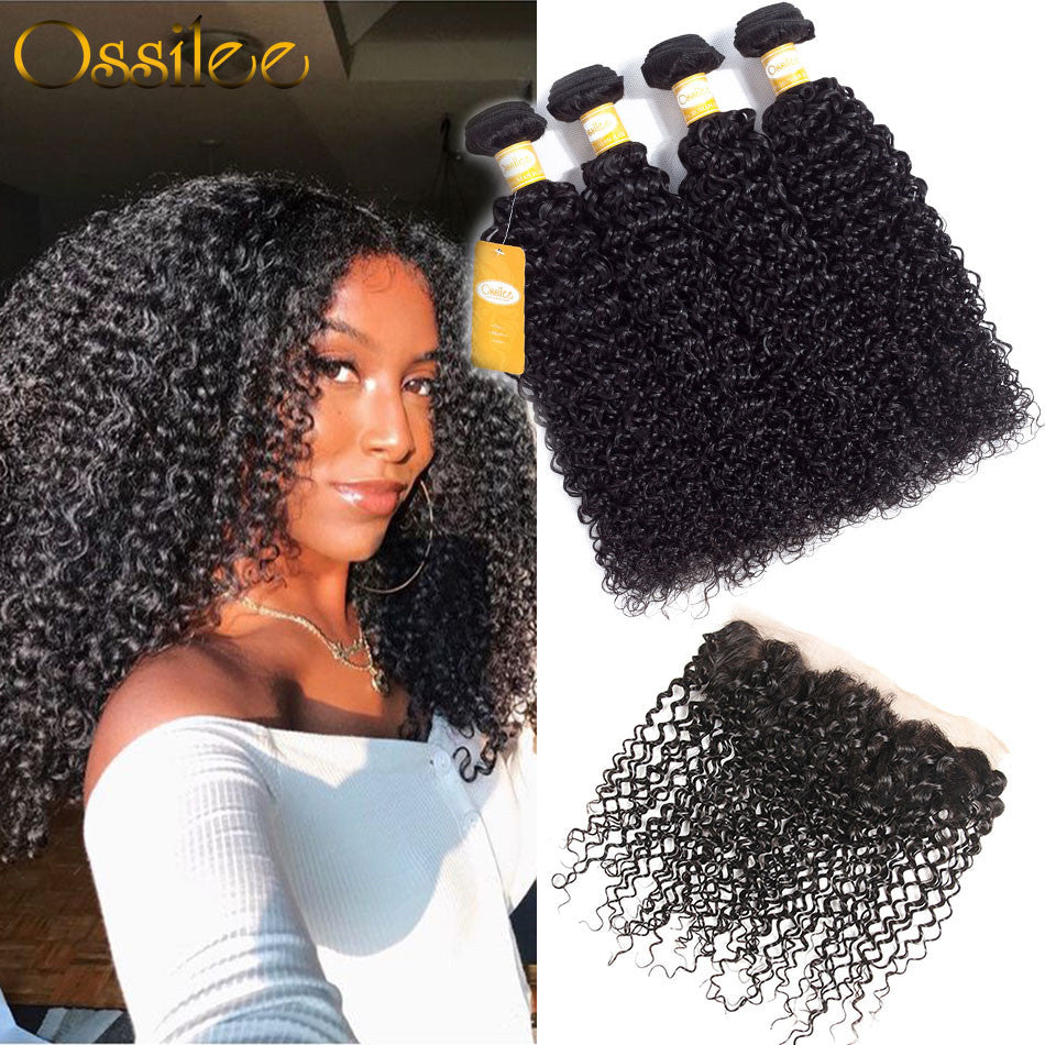 9A Grade Brazilian Kinky Curly 2/3Bundles With 13x4 Pre-Plucked Lace Frontal - Ossilee Hair