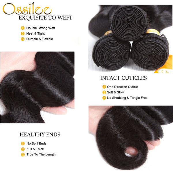 9A 3Bundles With 13x4 Pre-Plucked Lace Frontal Brazilian Body wave Virgin Human Hair Weave - Ossilee Hair