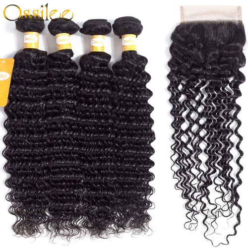 Top Quality 4 Bundles With 1Pc Closure Deep Wave 100% Human Hair Weave Bundles - Ossilee Hair