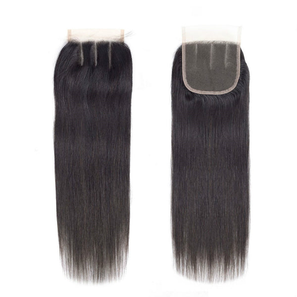 9A Grade 3Pcs Straight Hair With Lace Closure Soft & Thick Indian Virgin Hair Bundles Natural Color - Ossilee Hair