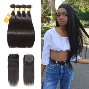 4 Bundles Straight Virgin Hair With Swiss Lace Closure - Ossilee Hair