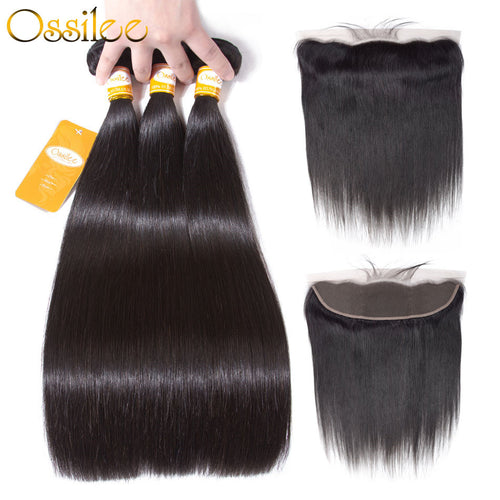 Unprocessed 9A Indian Virgin Hair With Lace Closure Straight Human Hair Extension Free Shipping - Ossilee Hair