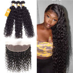 9A Grade Brazilian Water Wave Grade 3Bundles With 13x4 Pre-Plucked Lace Frontal - Ossilee Hair