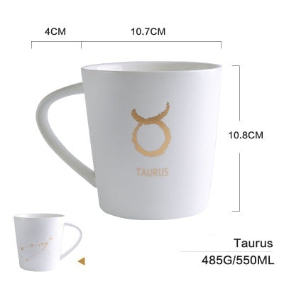GoldEnlighten® - Cosmic Ceramic Zodiac Mug (White) - Taurus