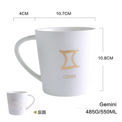 GoldEnlighten® - Cosmic Ceramic Zodiac Mug (White) - Gemini