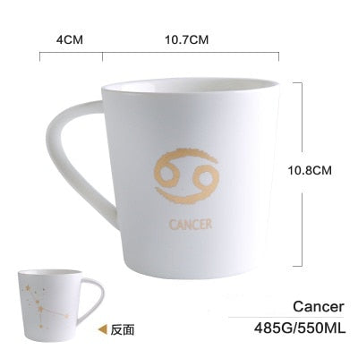 GoldEnlighten® - Cosmic Ceramic Zodiac Mug (White) - Cancer