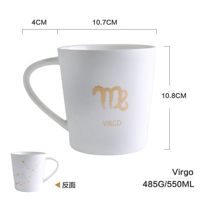 GoldEnlighten® - Cosmic Ceramic Zodiac Mug (White) - Virgo