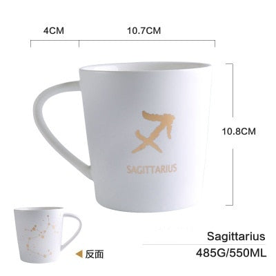 GoldEnlighten® - Cosmic Ceramic Zodiac Mug (White) - Sagittarius