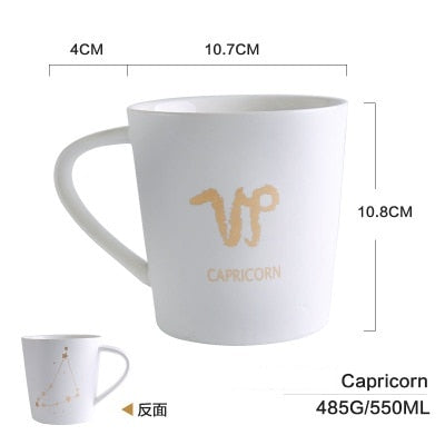 GoldEnlighten® - Cosmic Ceramic Zodiac Mug (White) - Capricorn