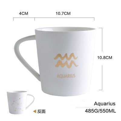 GoldEnlighten® - Cosmic Ceramic Zodiac Mug (White) - Aquarius
