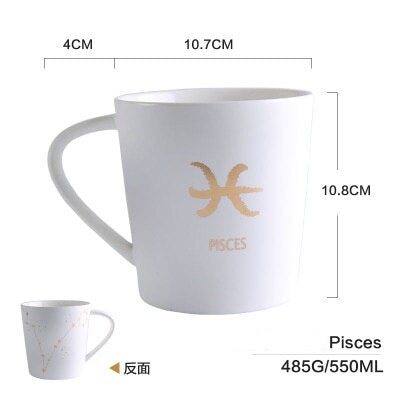GoldEnlighten® - Cosmic Ceramic Zodiac Mug (White) - Pisces