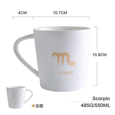 GoldEnlighten® - Cosmic Ceramic Zodiac Mug (White) - Scropio