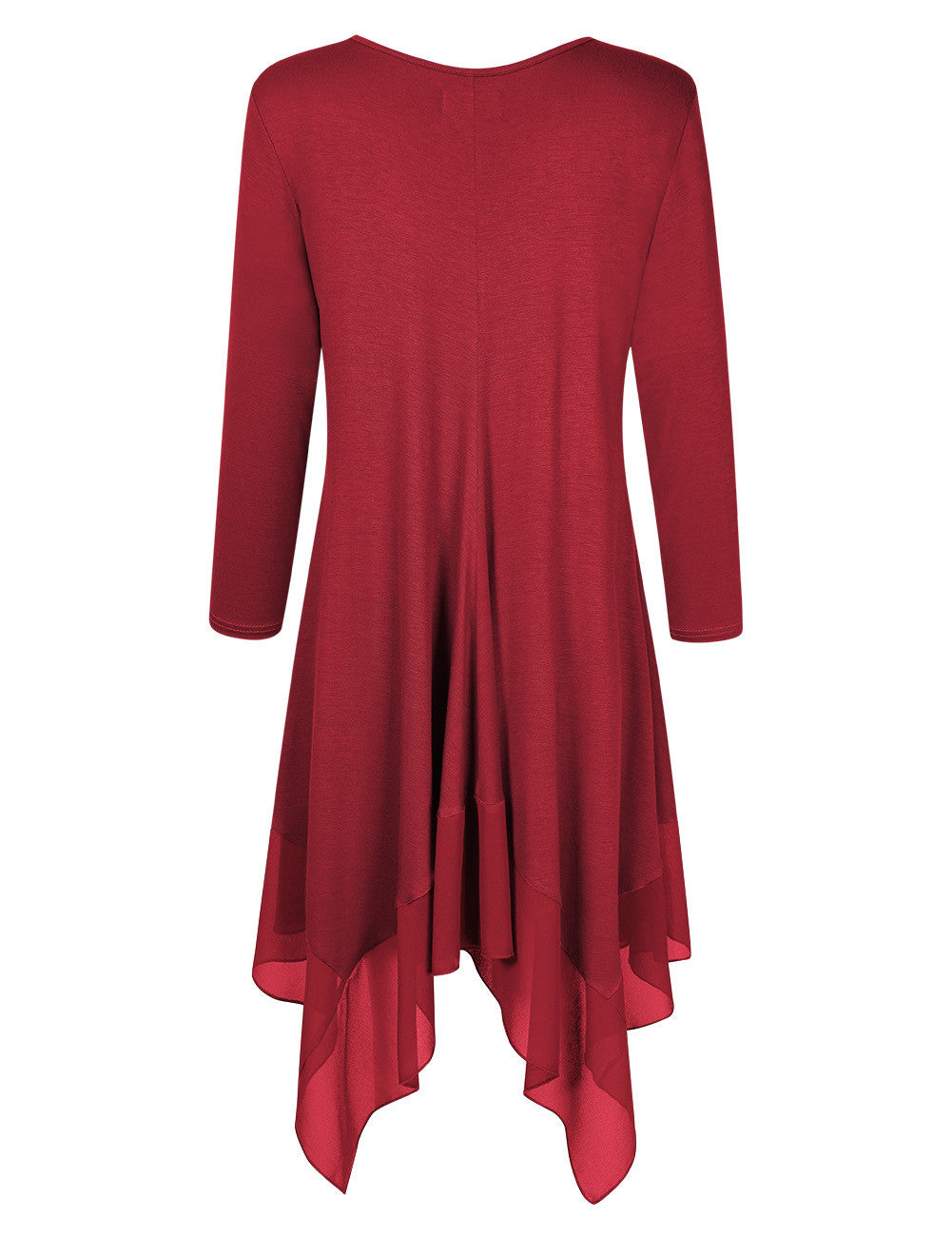 Scarf-like Hem Long Sleeve Loose Shirt Dress or Top