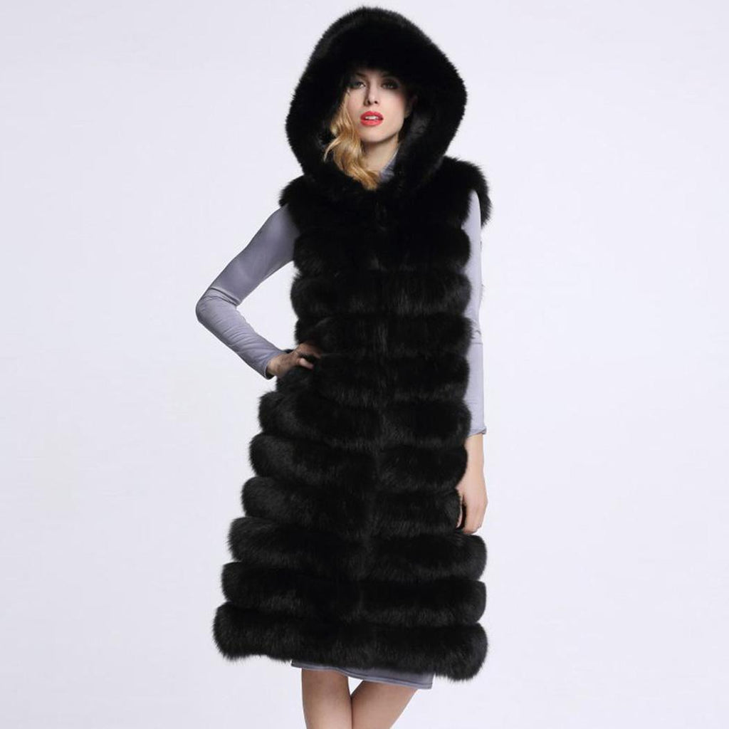 Beautiful Faux Fur Long Hooded Open Vest